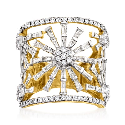 2.00 ct. t.w. Baguette and Round Diamond Openwork Flower Ring in 18kt Gold Over Sterling