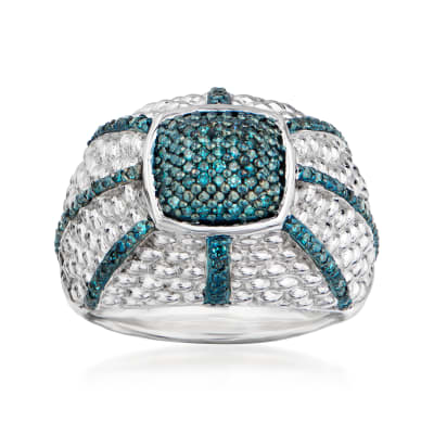.33 ct. t.w. Blue Diamond Weaved Dome Ring in Sterling Silver