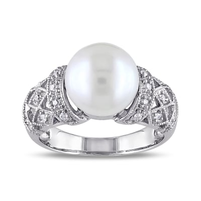 9-9.5mm Cultured Pearl Ring with Diamond Accents in Sterling Silver