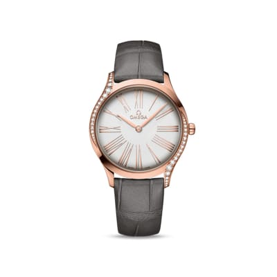 Omega De Ville Tresor Women's 36mm 18kt Rose Gold Watch with Diamonds and Gray Crocodile Leather