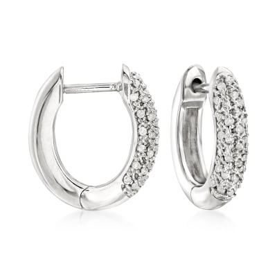 .25 ct. t.w. Pave Diamond Hoop Earrings in Sterling Silver