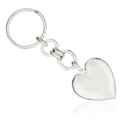 Sterling Silver Engravable Heart Key Ring