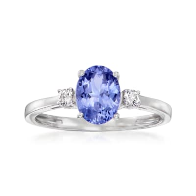 1.20 Carat Tanzanite Ring with .10 ct. t.w. Diamonds in 14kt White Gold