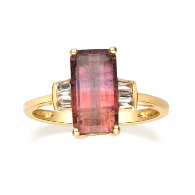 2.40 Carat Multicolored Tourmaline and .13 ct. t.w. Diamond Ring in 14kt Yellow Gold