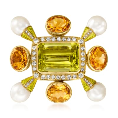 C. 1970 Vintage Cultured Pearl and 33.50 ct. t.w. Multi-Gemstone Pin with 1.55 ct. t.w. Diamonds in 18kt Yellow Gold