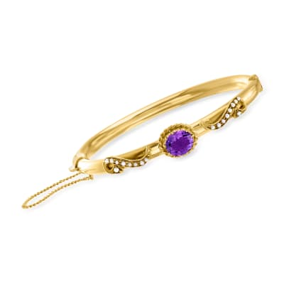 C. 1930 Vintage 1.65 Carat Amethyst Bangle Bracelet with Seed Pearls in 14kt Yellow Gold