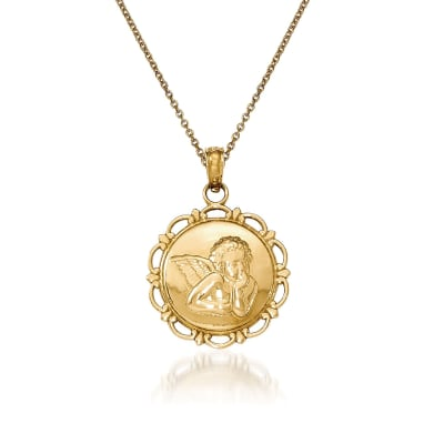 14kt Yellow Gold Angel Pendant Necklace