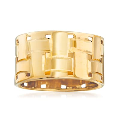 Italian 14kt Yellow Gold Basketweave Ring