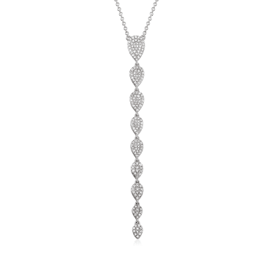 .51 ct. t.w. Pave Diamond Linear Drop Necklace in 18kt White Gold