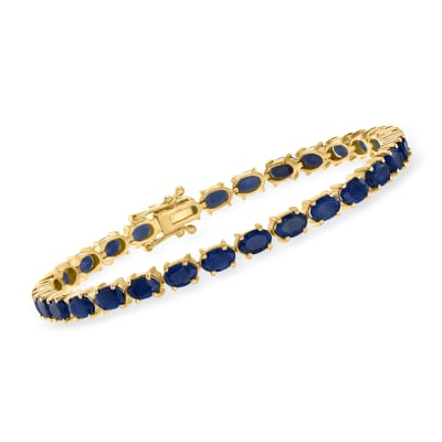 15.00 ct. t.w. Sapphire Bracelet in 18kt Gold Over Sterling