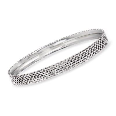 Sterling Silver Bismark-Link Bangle Bracelet