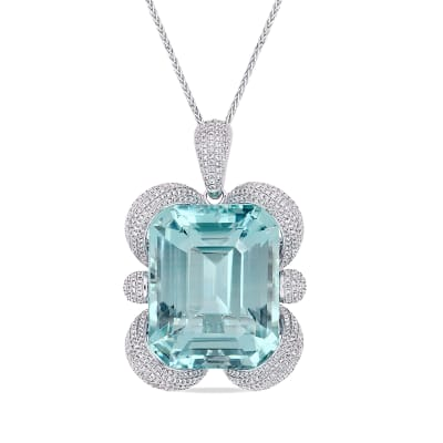 125.00 Carat Certified Sky Blue Topaz and 4.43 ct. t.w. Diamond Pendant Necklace in 14kt White Gold