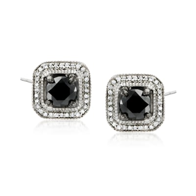 3.00 ct. t.w. Black and White Diamond Stud Earrings in Sterling Silver