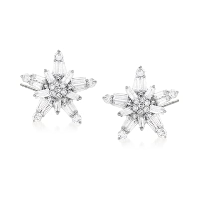 1.01 ct. t.w. Baguette and Round Diamond Star Earrings in 14kt White Gold