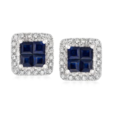 1.00 ct. t.w. Sapphire and .23 ct. t.w. Diamond Square Earrings in 14kt White Gold
