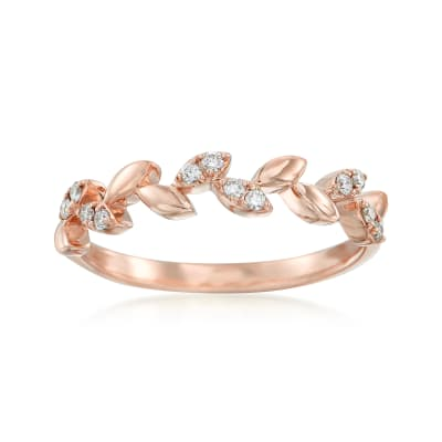 .12 ct. t.w. Diamond Leaf Ring in 14kt Rose Gold