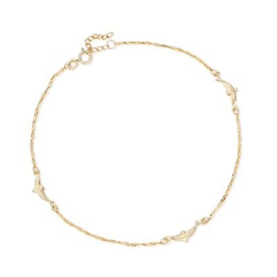 14kt Yellow Gold Dolphin Anklet