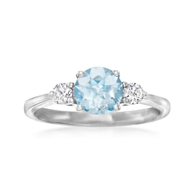 .90 Carat Aquamarine Ring with .20 ct. t.w. Diamonds in 14kt White Gold
