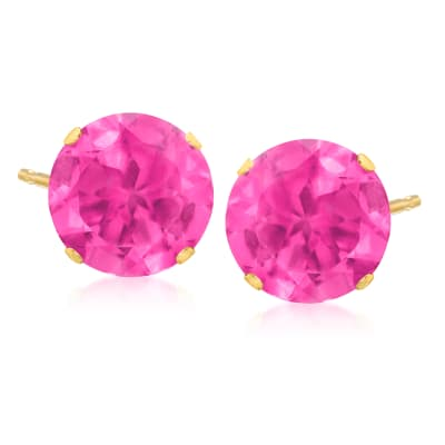 8.70 ct. t.w. Pink Topaz Stud Earrings in 14kt Yellow Gold