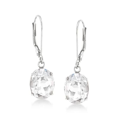 7.00 ct. t.w. White Topaz Drop Earrings in Sterling Silver