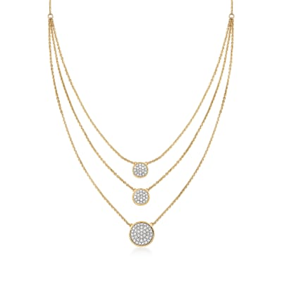 1.00 ct. t.w. Pave Diamond Circle Layered Necklace in 14kt Yellow Gold