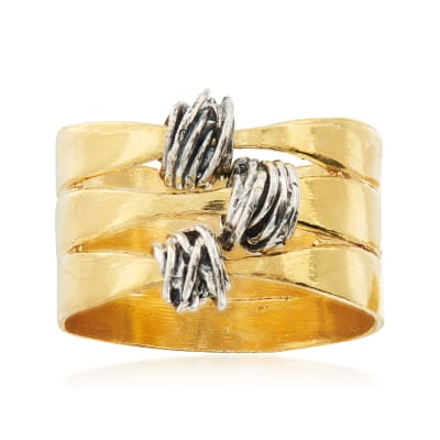Sterling Silver and 18kt Gold Over Sterling Knot Ring