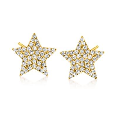 .22 ct. t.w. Diamond Star Stud Earrings in 14kt Yellow Gold