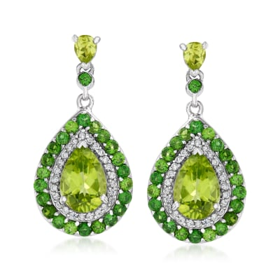 4.86 ct. t.w. Multi-Gemstone Halo Drop Earrings in Sterling Silver