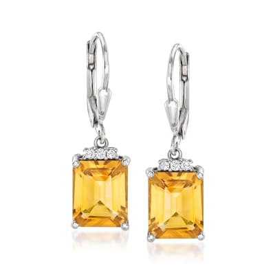5.25 ct. t.w. Citrine and .10 ct. t.w. White Topaz Drop Earrings in Sterllng Silver