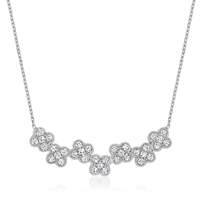 .70 ct. t.w. Diamond Flower Necklace in 18kt White Gold