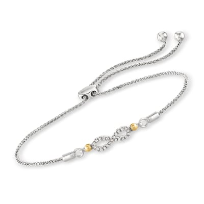 Diamond-Accented Infinity Bolo Bracelet in Sterling Silver with 14kt Yellow Gold