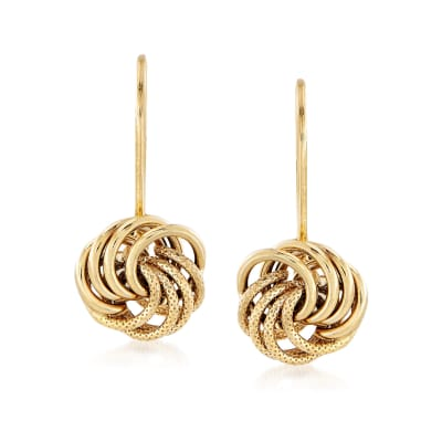 Italian 14kt Yellow Gold Textured and Polished Rosette Drop Earrings
