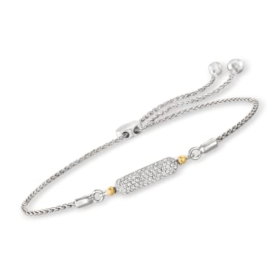 .24 ct. t.w. Pave Diamond Bar Bolo Bracelet in Sterling Silver with 14kt Yellow Gold