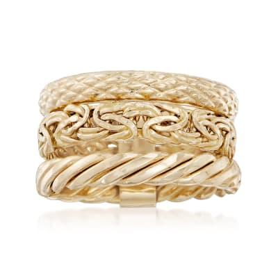 14kt Yellow Gold Jewelry Set: Three Stacked Rings