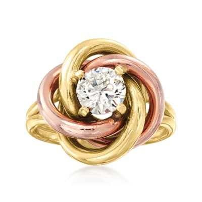 C. 1980 Vintage .91 Carat Diamond Knot Ring in 14kt Two-Tone Gold