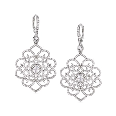 3.51 ct. t.w. CZ Filigree Drop Earrings in Sterling Silver