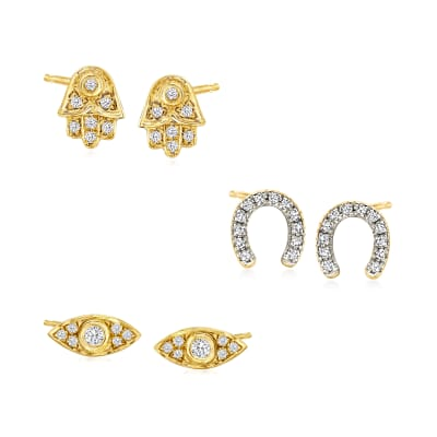.30 ct. t.w. Diamond Jewelry Set: Three Pairs of Symbol Stud Earrings in 18kt Gold Over Sterling