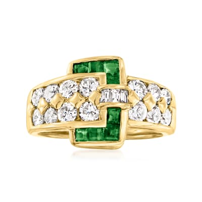 C. 1980 Vintage 1.33 ct. t.w. Diamond and .45 ct. t.w. Emerald Buckle Ring in 18kt Yellow Gold