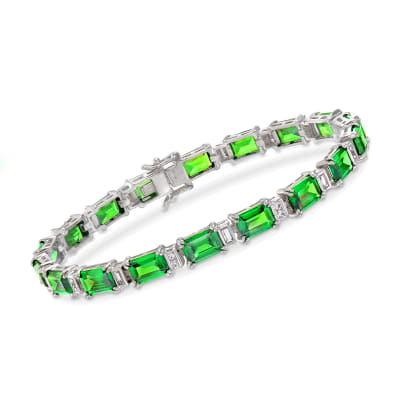 Simulated Emerald and .90 ct. t.w. CZ Bracelet in Sterling Silver