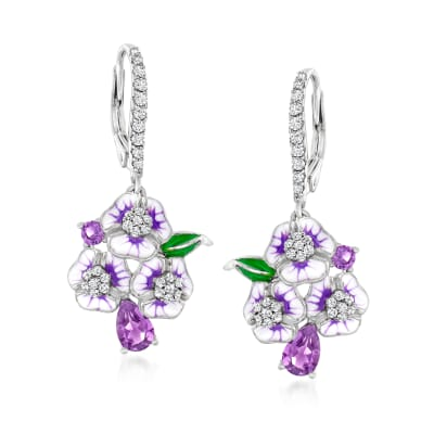 .80 ct. t.w. Amethyst and .44 ct. t.w. White Topaz Flower Drop Earrings with Enamel in Sterling Silver
