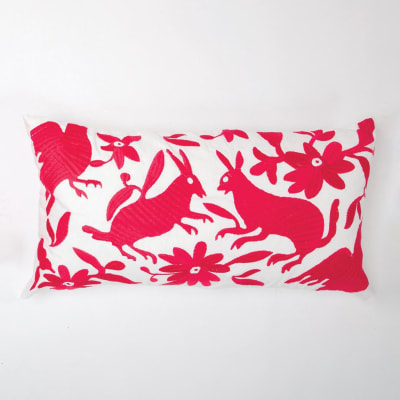 Set of 2 Fuchsia and White Folk Art Lumbar Pillows
