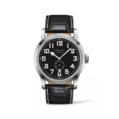Longines Heritage Military Men's 44mm Automatic Stainless Steel Watch with Black Alligator