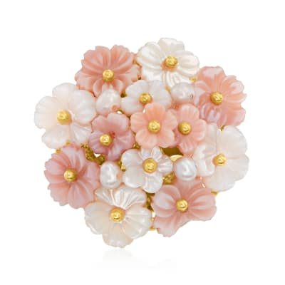 Italian Pink and White Mother-Of-Pearl Flower Ring with Cultured Semi-Baroque Pearls in 18kt Gold Over Sterling
