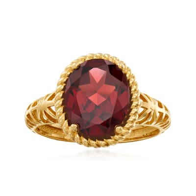 3.40 Carat Garnet Ring in 14kt Yellow Gold
