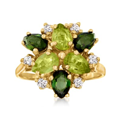 C. 1980 Vintage 1.20 ct. t.w. Peridot, 1.05 ct. t.w. Tourmaline and .25 ct. t.w. Diamond Cluster Ring in 14kt Yellow Gold