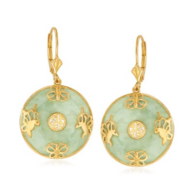 "Jade ""Good Fortune"" Butterfly Drop Earrings in 18kt Gold Over Sterling"