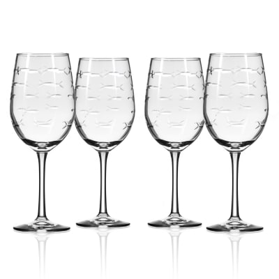 "Rolf Glass ""School of Fish"" Set of 4 Wine Glasses"