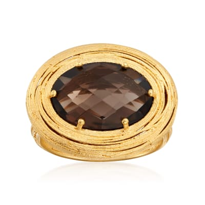 Italian 5.00 Carat Smoky Quartz Ring in 18kt Gold Over Sterling