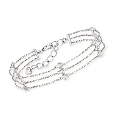 C. 1990 Vintage .75 ct. t.w. Diamond Triple-Strand Station Bracelet in 14kt White Gold
