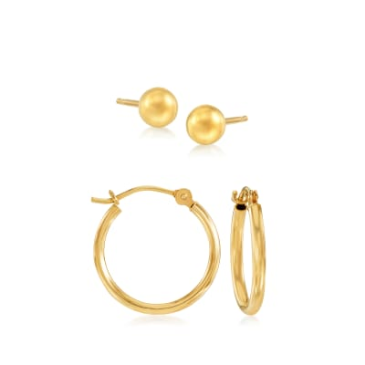 14kt Yellow Gold Jewelry Set: Stud and Hoop Earrings